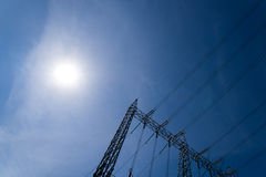 High voltage tower. With sun light Royalty Free Stock Photos