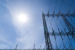 High voltage tower. With sun light Royalty Free Stock Images
