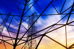 High voltage tower. At sunset Stock Images
