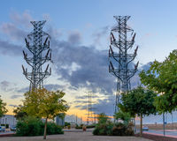High voltage tower at sunset II Stock Images