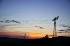 High voltage tower. View during the evening Royalty Free Stock Photography