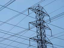 High voltage tower and wires Royalty Free Stock Photography