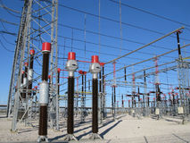 High voltage towers. And transformer on power plant Royalty Free Stock Photography