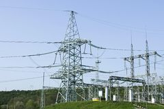 High voltage towers and other equipment Stock Images