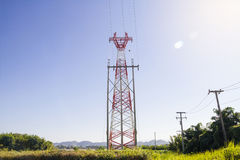High voltage towers. High voltage post or High voltage tower on skies background royalty free stock photography