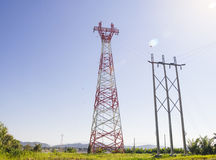 High voltage towers. High voltage post or High voltage tower on skies background stock photos