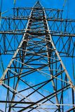 High-voltage towers of power lines stock images