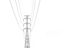 High voltage towers with power lines isolated on white Stock Photos