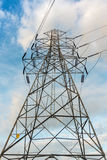 High voltage towers on skies background, Transmission line tower.  royalty free stock photo