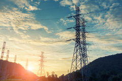 High voltage towers on skies background, Transmission line tower. High voltage towers on skies background stock image