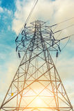 High voltage towers on skies background, Transmission line tower royalty free stock images