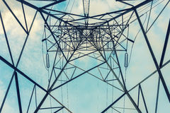 High voltage towers on skies background, Transmission line tower.  royalty free stock image