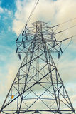 High voltage towers on skies background, Transmission line tower.  stock photos