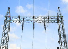 High voltage structure. High voltage towers and structure Royalty Free Stock Photo