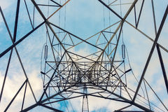 High voltage towers and transmission line for electricity stock photos