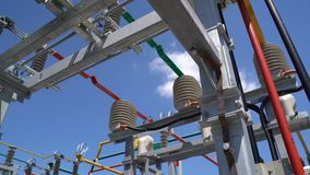 High voltage transformer equipment. In a solar power station stock footage