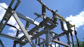 High voltage transformer equipment. In a solar power station stock video