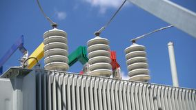 High voltage transformer equipment. In a solar power station stock video footage