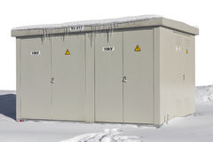 High-voltage transformer in snow Royalty Free Stock Photography