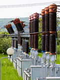 High voltage transformer station Stock Photo