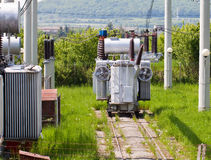 High voltage transformer station Stock Images