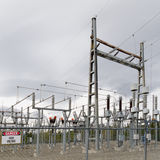 High-voltage transformer substation Stock Images