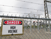 High-voltage transformer substation Royalty Free Stock Image