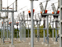 High-voltage transformer substation Stock Photo