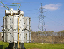 High voltage transformers in electrical substation Royalty Free Stock Images