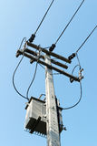 High Voltage Transformers on the pole. Royalty Free Stock Photos