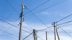 High voltage transmission lines against the sky. royalty free stock images