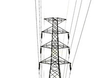 The High voltage transmission lines isolated on white background Royalty Free Stock Photo
