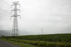 High voltage transmission lines in misty rain stock photo