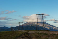 High-voltage transmission lines passing through Viluchinsky pass Royalty Free Stock Image