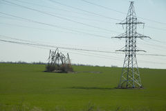High-voltage transmission power tower. With damaged structure royalty free stock photo
