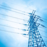 High voltage transmission pylon background Royalty Free Stock Photography