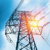 High voltage transmission pylon closeup Stock Photo