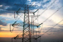 High voltage transmission pylon at dusk Stock Photography