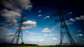 High voltage transmission pylon.High-voltage tower sky background stock footage