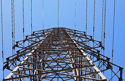 High voltage transmission tower. A photo of a high voltage transmission tower stock photo