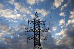 High voltage transmission tower at dusk. high-voltage transmission line in Russia. High-voltage transmission line in Russia royalty free stock photography