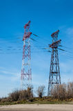 High voltage transmission tower and lines. Energetics concept royalty free stock image