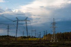 High voltage transmission tower and lines stock images