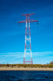 High voltage transmission tower and lines. Energetics concept stock images
