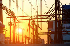 The high voltage transmission tower in the sunset Royalty Free Stock Photography