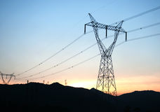 The high voltage transmission tower royalty free stock photography