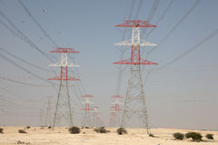 High voltage transmission towers stock photos