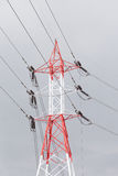 High voltage transmission towers. Behind the skies Electricity transmission between substations stock images
