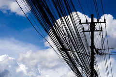High voltage transmission towers with electric wire Stock Image