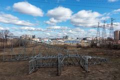 High voltage transmission towers stock photography